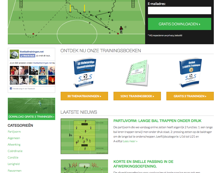 voetbaltrainingen website vernieuwd